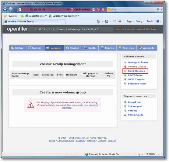 How to configure iSCSI Target with Openfiler 2 99