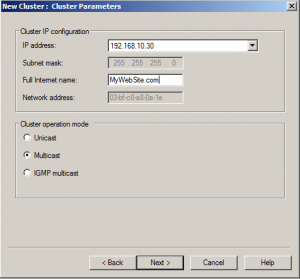 Cluster parametrs