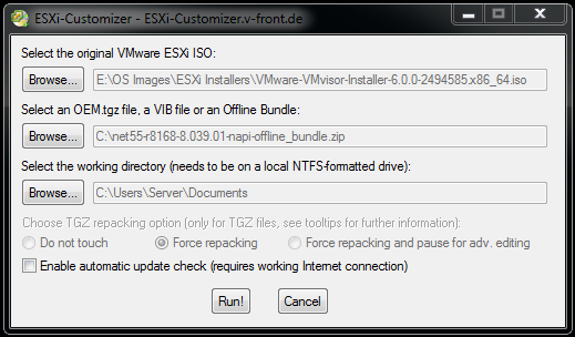 ESXi 6.0 Customizer