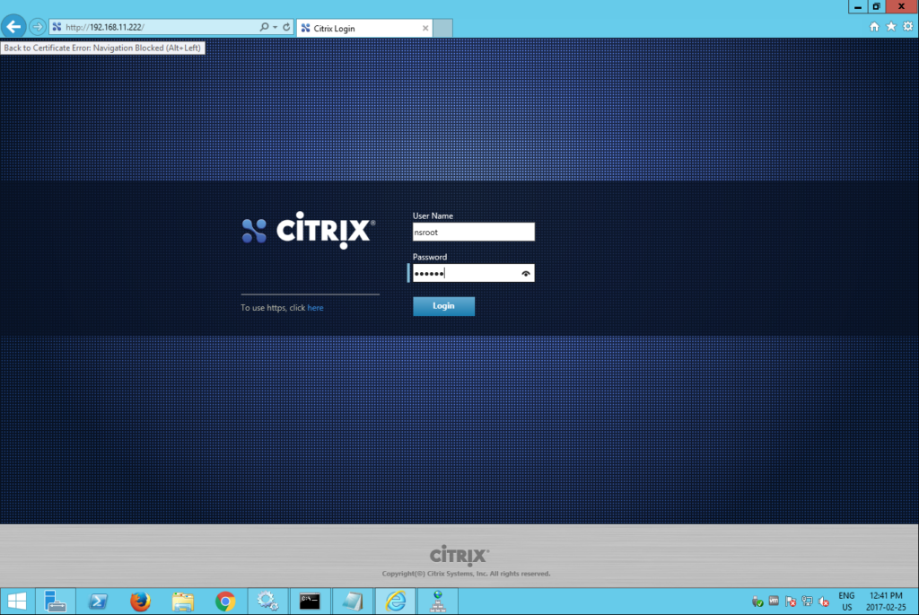 citrix netscaler login nsroot