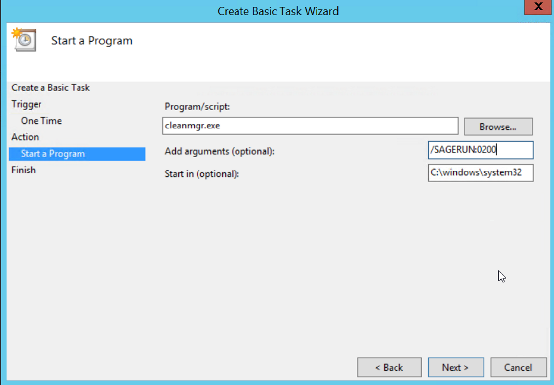 Running disk cleanup Remotely as a scheduled task
