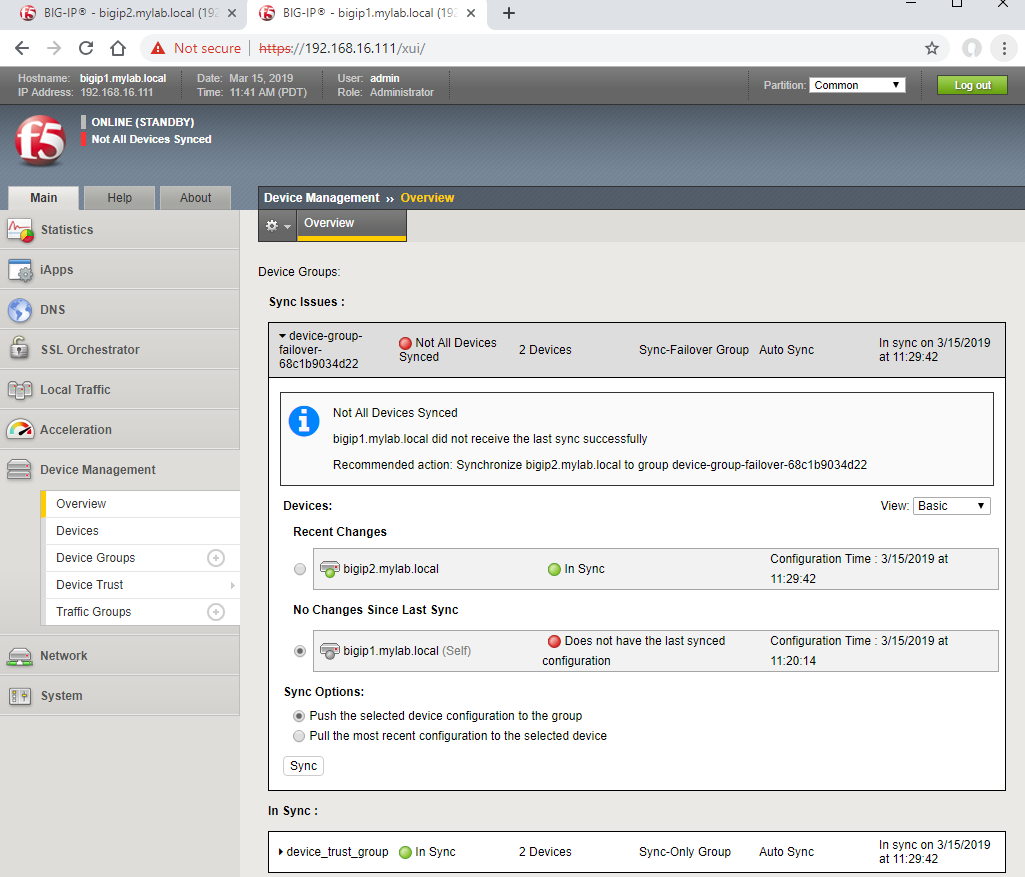 Configure an Active/Standby pair Big-IP F5 Load Balancer in VMware